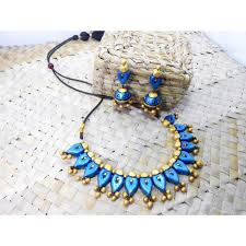 blue and golden terracotta jewellery teje0009