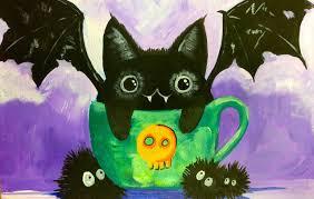 black cat bat kawaii easy acrylic painting the art sherpa for kids you