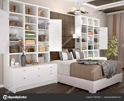 Helle Und Gemütliche Moderne Schlafzimmer Mit Geöffnete Schränke An