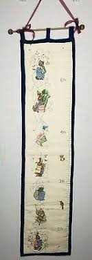 Embroidered Growth Chart Vintage Hand Embroidered Childs Growth Chart Nursery Decor