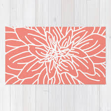coral colored rug. Fancy Coral Area Rug With Abstract Flower Modern And Colored