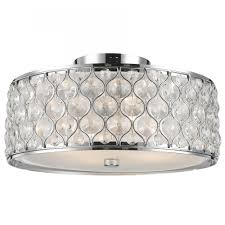 Chrome Flush Mount Ceiling Light Paris 4 Light Chrome Finish With Clear Crystal Flush Mount