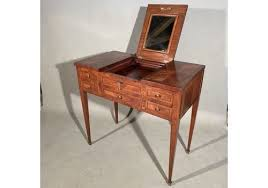 antique french dressing table with hinged top mirror