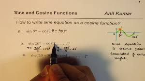 how to write sine equation as cosine function