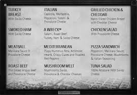customers can also order off menu sandwiches and variations on our sandwiches including the wrecking ball a wreck plus meat the lucky seven
