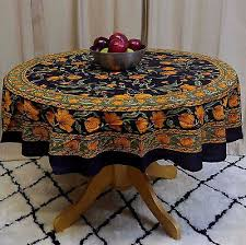 unique handmade 100 cotton french fl tablecloth round 60 inch black amber