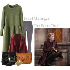 liesel meminger the book thief polyvore a fashion look from 2015 featuring drop waist dresses long coat and slim