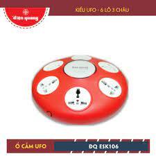 Ổ cắm Điện Quang ĐQ ESK 5R.106 (Kiểu UFO 6 lỗ 3 chấu dây 5m màu đỏ)