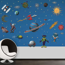 outer space l and stick removable wall decals space alien theme 71 piece set