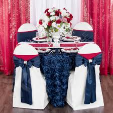 wedding rosette satin 120 round tablecloth navy blue