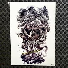 греческой мифологии воин дизайн временные татуировки водонепроницаемый герой