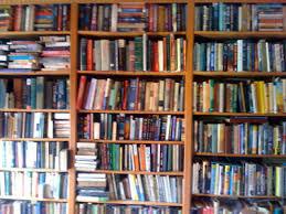 Bookshelves on an upper floor in the house on the hill