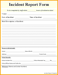 Incident Report Template Free Blank Police Form Printable