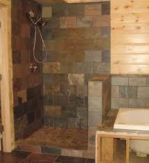 Tiled walk in shower no door
