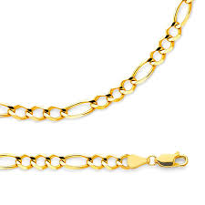 Light Figaro Chain Details About Figaro Necklace Solid 14k Yellow Gold Chain Open 3 1 Link Light 5 6 Mm