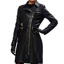 lopsided zipper leather coat for women s