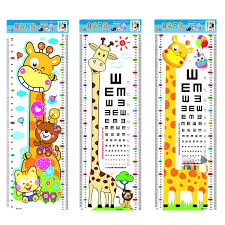 Animal Eye Size Chart Us 1 41 17 Off 1pc Animals Children Growth Height Measurement Chart Cartoon Eye Chart Kids Baby Height Wall Sticker Giraffe Sticker Home Decor In