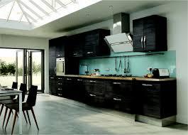 modern kitchen backsplash 2013. Fascinating Modern Kitchen Design Ideas With Black Wood Cabinet And Brown Countertop Also Light Blue Backsplash Cook Top Wit 2013