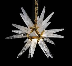 contemporary rock crystal stars chandeliers by alexandre vossion for