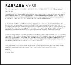 Sample Letter To Insurance Company For Reimbursement Medical Billing Specialist Cover Letter Sample Cover Letter