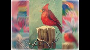acrylic painting on canvas for beginners cardinal in winter