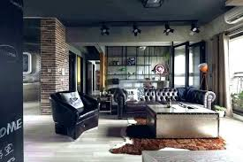 custom man cave rugs modern industrial apartment with tufted leather sofa and cowhide rug mode