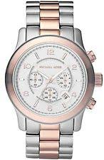 michael kors mk8176 mens michael kors silver and rose gold stainless chronograph date watch mk8176