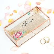 rose gold personalized glass jewelry box mirrored jewellery wooden wine ceremony set personalized glass rose gold jewelry box