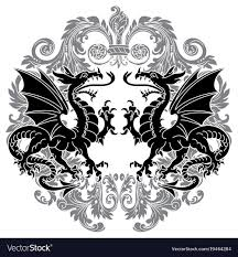 Dragon Pattern Best Two Winged Heraldic Dragon And Victorian Pattern Vector Image