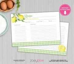 Where To Buy Recipe Cards In Stores Lemon Recipe Card Printable Lemon Bridal Shower Recipe