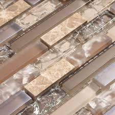 bathroom and kitchen tile. beige and tan cracked glass tile with stone a hint of iridescent | backsplash bathroom kitchen