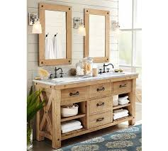 pottery barn benchwright double sink console wax pine finish for the master bath pottery barn bathroom lighting l18