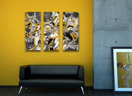 yellow black and white wall art