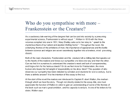 whom do you sympathise more frankenstein or the document image preview