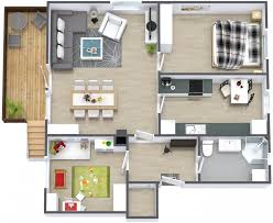 Architecture Home Floor Plans for Small and Large Size Land        Architecture Medium size One Storey Rsquare House Open Floor Plan Contemporary Design With Two Bedroom Dining