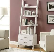 Decorations:Slim White Minimalistic Wooden Bookshelf In Two Rows With  Storage End Bookshelf Design Ideas