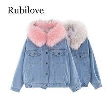 <b>Rubilove</b> velvet thick denim jacket <b>female</b> winter big fur collar ...