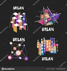 theme urban vector set fluid gradient hand drawn logos theme urban
