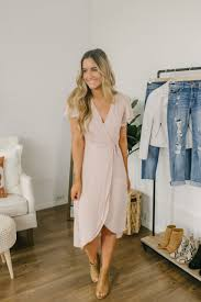 Everly High Low Wrap Midi Dress Natural Pink In 2019