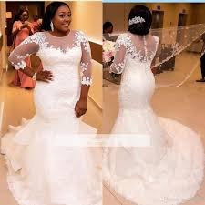 plus size african wedding dresses mermaid romantic black girl lace