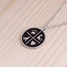cute jewelry cat dog paw print heart pattern round pendant necklace animal lover