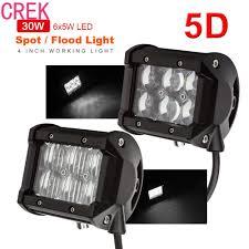 Waterproof Led Light Bar For Atv Crek 1 Pcs Black 4 Inch 30w 2550lm 5d Waterproof Led Work
