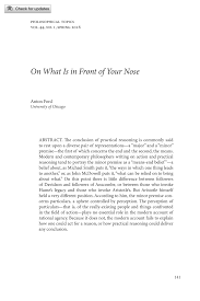 On What Is in Front of Your Nose - Anton Ford - Philosophical Topics  (Philosophy Documentation Center)