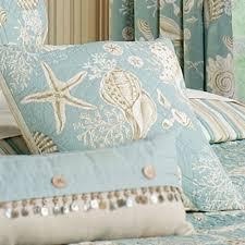 Natural Shells Coastal Quilt Bedding & Natural Shells Quilted Pillow Aqua 14 Square Adamdwight.com