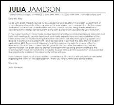 faculty cover letters academic coordinator cover letter sample cover letter