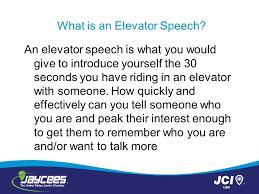 30 Sec Elevator Speech 30 Second Elevator Speech Prepared By Chrystal Ramsay August Ppt