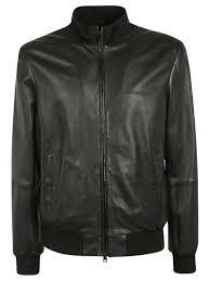 emporio armani flight leather jacket black