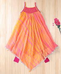 Baby Kurti Design 2019 Twisha Orange Asymetrical Hem Shibori Kurta With Leggings