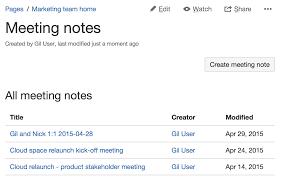 Meeting Notes Blueprint Atlassian Documentation