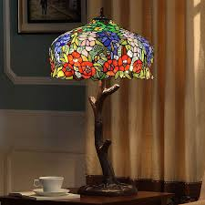 tiffany style stained glass lamps twig rose pattern loading zoom